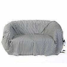 jeté de canapé en jeté de canapé rectangulaire blanc avec des rayures bleu roi en