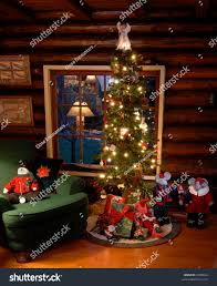 fashioned christmas tree fashioned christmas tree log cabin stock photo 9409624