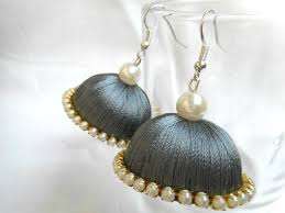 thread earrings silver jhumka thread earrings big silk thread jhumka