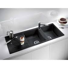 Composite Granite Blanco Zia  Double Bowl Sink Black The - Kitchen sink double bowl double drainer