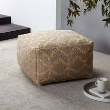 Woven Pouf Ottoman Handmade Casual Living Leather Moroccan Ottoman Pouf Comes In Pink