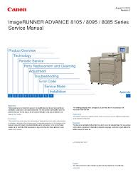 canon imagerunner advance 8085 8095 8105 series service manual