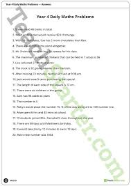 daily maths word problems year 4 worksheets teaching resource