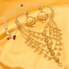 women necklace set images Sukkhi graceful five string laxmi gold plated necklace set for jpg