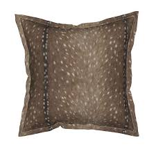 serama throw pillow featuring deer hide fabric and wallpaper in