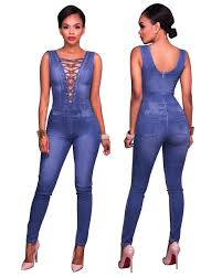 sleeveless denim jumpsuit us 9 8 lace up bust sleeveless denim jumpsuit 25897