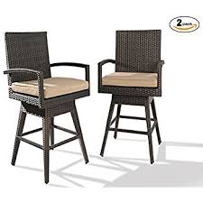 Outdoor Swivel Bar Stool Tustin Wicker Outdoor Swivel Arm Bar Stool Home Kitchen