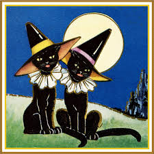 halloween hats 2 black cats with witch hats halloween counted cross stitch or