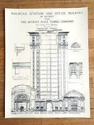 blueprint art print detroit train station by cyberoptix