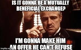 Godfather Meme - his brains or his signature economics memes