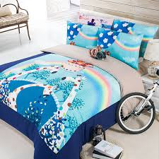 Turquoise Comforter Set Queen Aliexpress Com Buy Blue And Pale Turquoise Cartoon Giraffe And