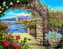 arch w climbing roses hand painted tile mural for backsplash