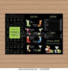 cocktail menu design alcohol drinks leaflet stock vector 413670952