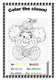 color the clown worksheet by teacher ju