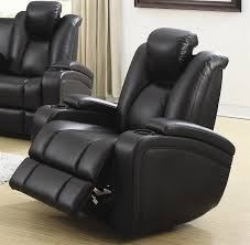 element 2 piece power recline sofa set in black leather upholstery