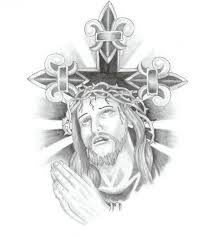 cross n praying jesus tattoo design real photo pictures images