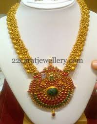 antique necklace chain images Antique long chain with ruby pendant jewellery designs jpg