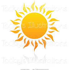 clipart of a summer sun with rays and reflection by 35