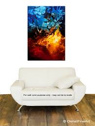 abstract painting blue red contemporary abstract art home decor