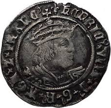 1526 england great britain tudor king henry viii old silver groat