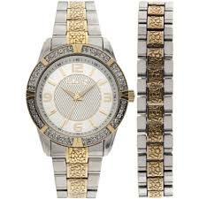 watches for men elgin men u0027s two tone silver dial watch and bracelet set walmart com