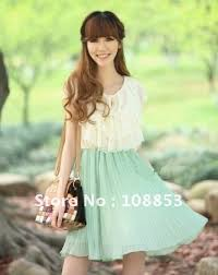 women u0027s fasion korean mint green slim ruffle sleeve pleated lace