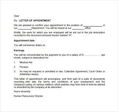 appointment letters format sample format for ceo offer and