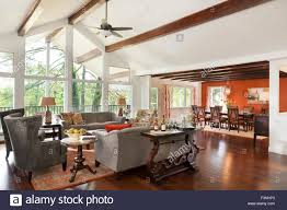 Living Room High Ceiling Living Room And Dining Room With High Ceiling Stock Photo