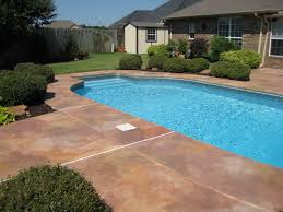 Covering Old Concrete Patio by Painted Outdoor Concrete Around Pool Concrete Pool Deck Design