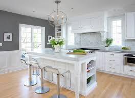 Traditional White Kitchens - modern brick backsplash kitchen ideas