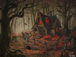 vintage halloween backgrounds witch house picture 2d fantasy forest witch autumn trees