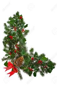 photo a christmas garland in an l shape with red berries
