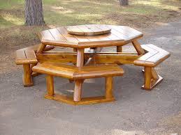Red Cedar Octagon Walk In Picnic Table by Rustic Picnic Table Rustic Lodge Log And Timber Furniture