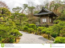 kyoto japan zen garden with shinto shrine stock photo image