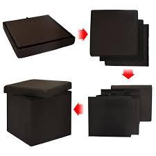 pouf bout de canapé pouf 38cm avec coffre de rangement 42l repose pieds en forme de cube