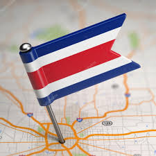 Costarican Flag Costa Rica Small Flag On A Map Background U2014 Stock Photo