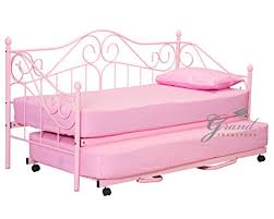 Single Metal Day Bed Frame Joseph Pink Metal Day Bed With Trundle Style 3ft