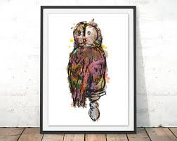 owl painting etsy