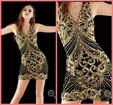 wholesale 2016 new design sheath black gold sequins sparkly