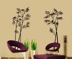 cool bamboo wall mural design along with white lacquered desk with