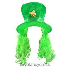 green irish hat w shamrock and hair ireland st patricks day fancy