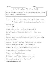 homophones worksheets circling homophones worksheet part 2