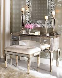 Glass Makeup Vanity Table Bedroom Glass Makeup Vanity Table With Drawers And Tri Fold