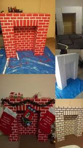 fireplace and chimney for santa made with cardboard boxes and