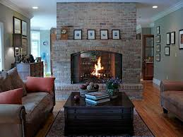 brick fireplace design for country family room decoration with
