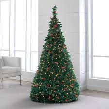 collapsible christmas tree pre lit pull up christmas tree shop brookstone for christmas