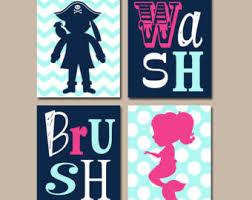 Kids Pirate Bathroom - mermaid pirate bathroom wall art canvas or prints brother sister