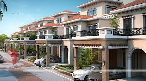 Row House Front Elevation - 3d architectural apartments rendering u0026 modelling services