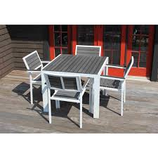 winston outdoor powder coated white aluminum grey 5 piece dining