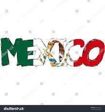 Mexican Flag Cartoon Mexico Flag Text Name Country Vector Stock Vektorgrafik 249401596